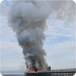 Weston pier on fire